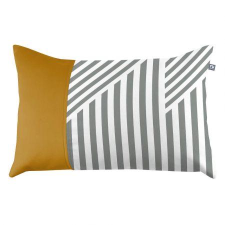 Geometric Striped Cushion - Grey