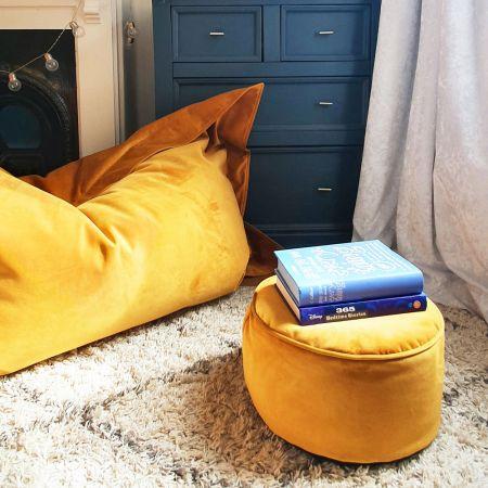 Luxury Mustard Velvet Footstool and Squarbie