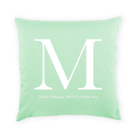 Personalised new baby cushion - duck egg