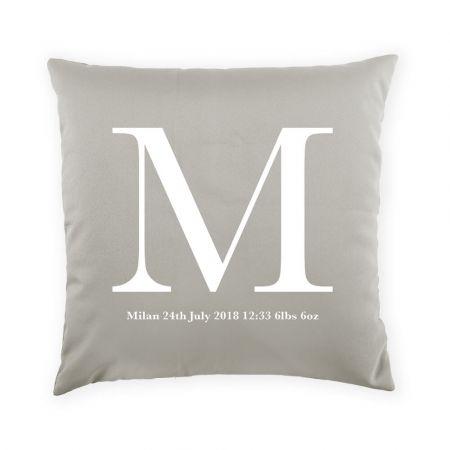 Personalised new baby cushion - platinum grey