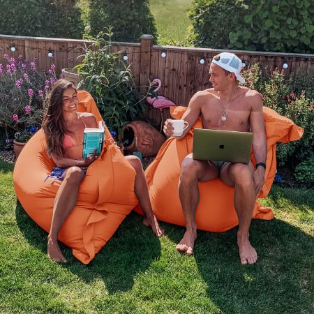 Indoor/Outdoor Squashy Squarbie© Giant Outdoor Orange Beanbags