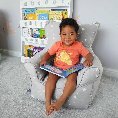 Children's Twinkle Star Armchair Beanbag - Platinum Grey