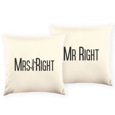 Pair of Mr and Mrs Right Cushions Front View