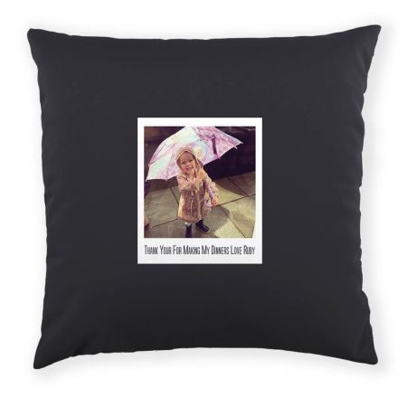 Personalised Polaroid Photo Cushion with Message Front View