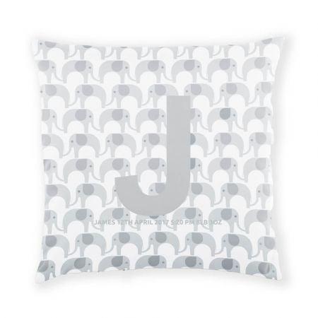 Personalised Elephant Cushion - Platinum Grey