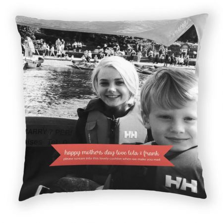 Personalised Photo Cushion with message