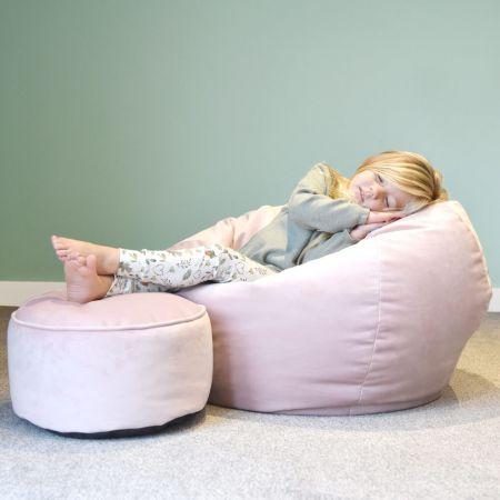 Mini-Slouch Kids Velvet Beanbag - Pink