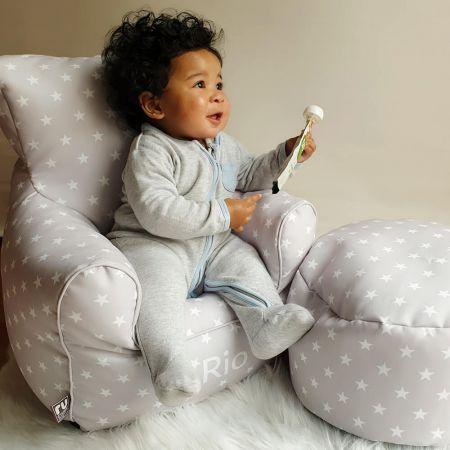 Platinum Grey Stars Toddler Armchair
