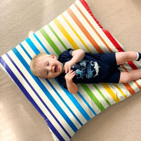 Rainbow Stripe Floor Cushion
