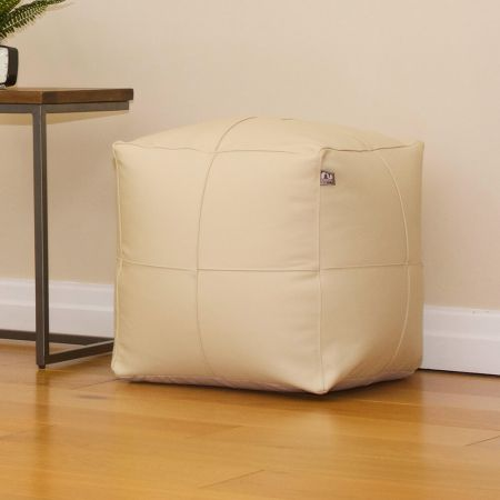 Cream Real Leather 42cm Cube Beanbag