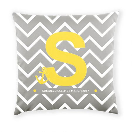 Personalised Sailor Cushion Front View in Platinum and Lemon Yellow