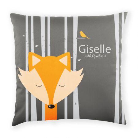 Personalised sleepy fox cushion