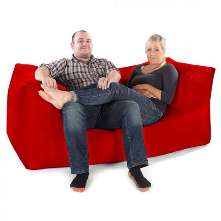 2 Seater Beanbag Sofa - Red