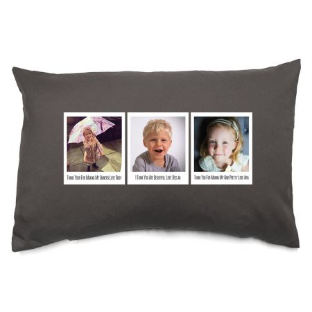 Personalised Trio of Polaroids Photo Cushion Front View