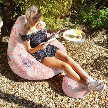 Pink Tropical Leaf Extra Large Classic Beanbag  - Indoor/Outdoor
