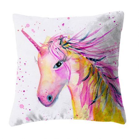 Twinkle the Unicorn 40cm scatter cushion printed on faux suede fabric