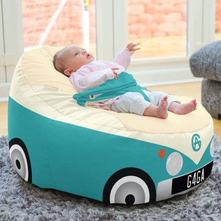 Iconic Campervan Gaga + Baby to Junior Beanbag In Turquoise