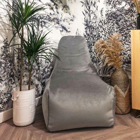Velvet Raja Beanbag Chair - Pebble