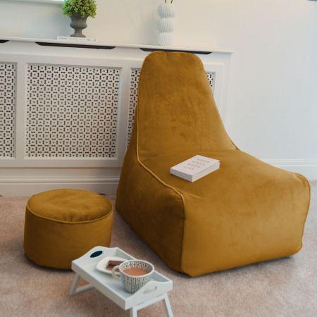 Velvet Raja Bean bag Chair in Mustard