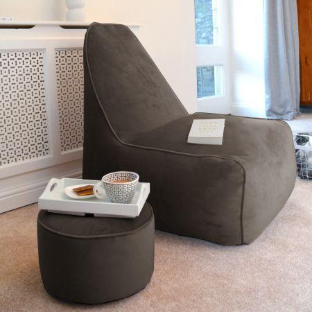 Raja Lounger Beanbag Chair - Velvet - Mole