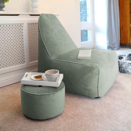 Raja Lounger Beanbag Chair - Velvet - Sage