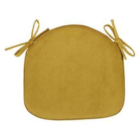Pack of 2 - Velvet Seat Pad - Mustard