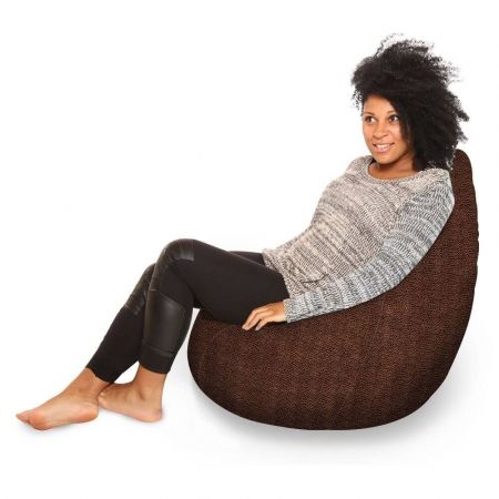 Large Classic Bean Bag - Worn Leather - Brown