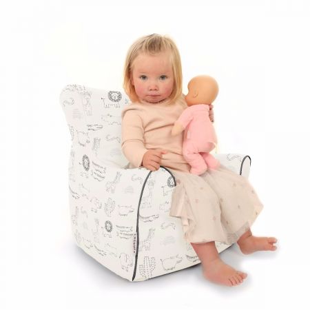 Zoo Animal Toddler Beanbg Chair in Black and White