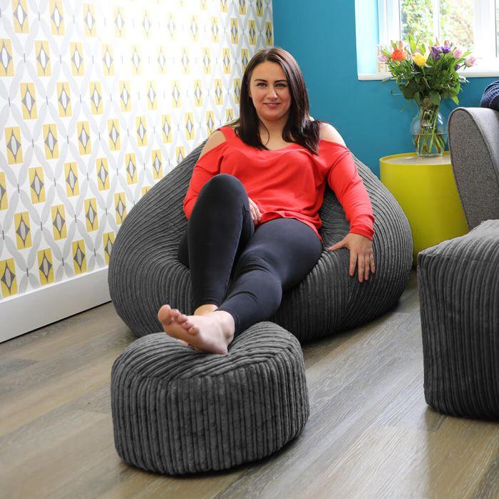 Pleasing Round Footstool Bean Bag Jumbo Cord Beatyapartments Chair Design Images Beatyapartmentscom