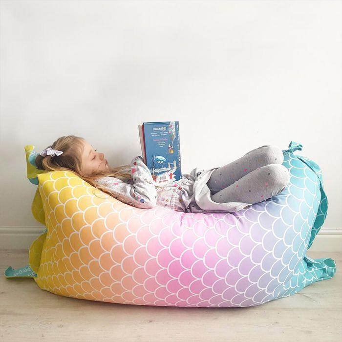 Prime Mermaid Tail Squarbie Bean Bag Large Machost Co Dining Chair Design Ideas Machostcouk