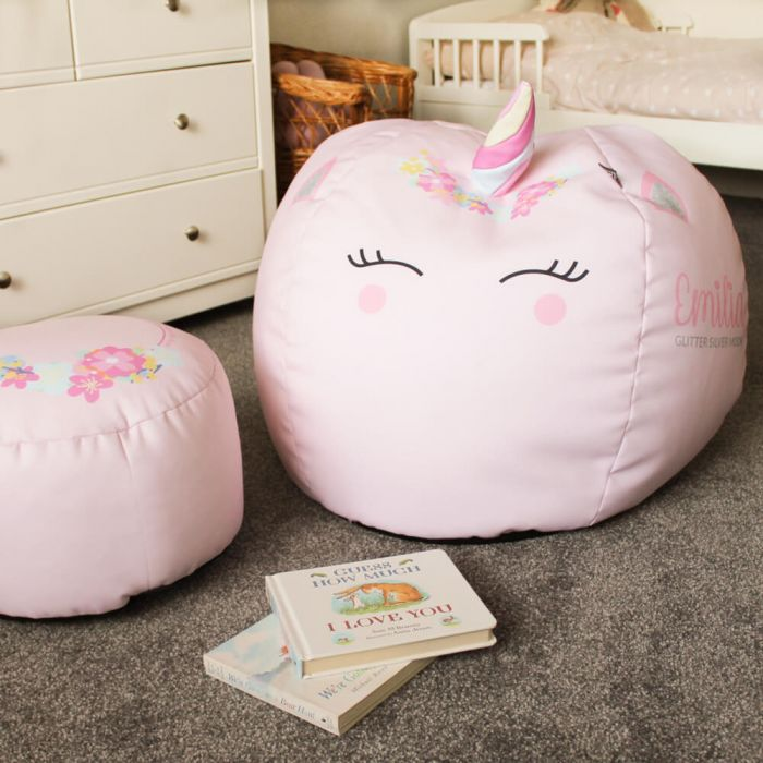 Pleasing 3D Kids Unicorn Beanbag Small Baby Pink Machost Co Dining Chair Design Ideas Machostcouk
