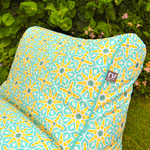 Beanbag lounger piping and pattern close up