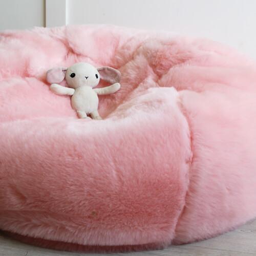 pink faux fur beanbag