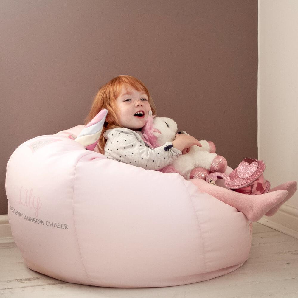 Baby Pink 3D Unicorn Beanbag