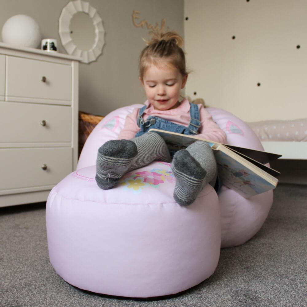Baby pink unicorn kids beanbag