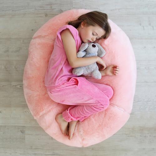 pink faux fur kids beanbag