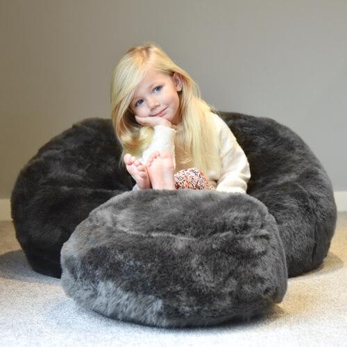 grey faux fur kids beanbag
