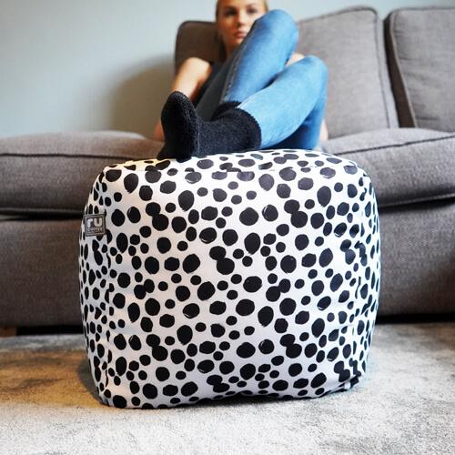 Dalmatian Spots Bean Cube used as a footstool