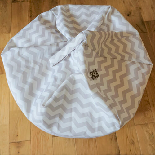 Grey Chevron print beanbag with handle