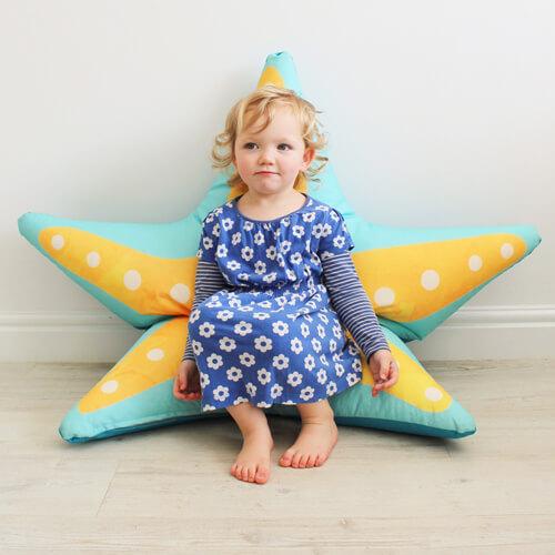 Starfish floor cushion indoors