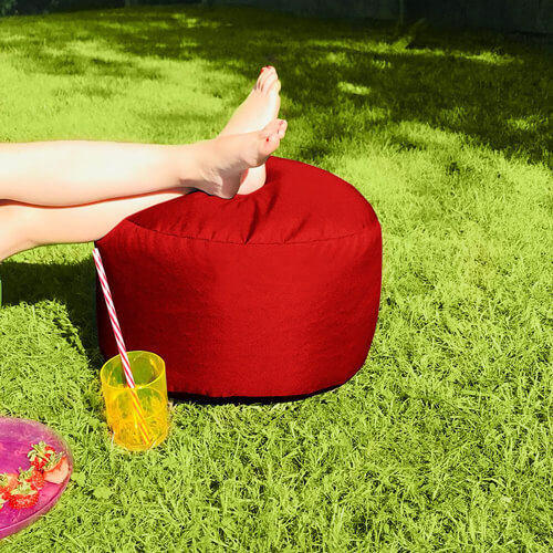 red striped Squarbie Beanbag outdoors in the garden