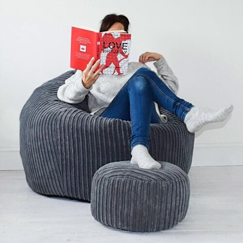 Jumbo Cord Bean Bag with Footstool