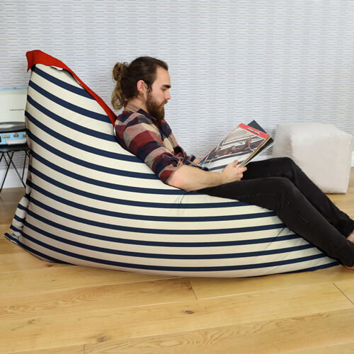 striped giant squarbie beanbag indoors