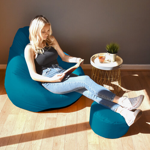 Trend extra large classic bean bag with footstool