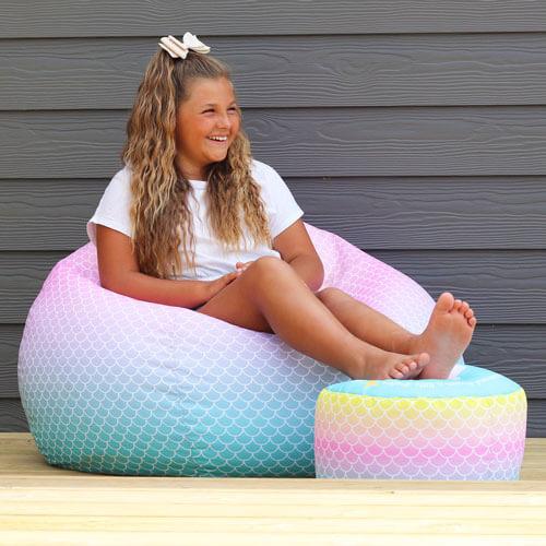 Mermaid Ombre Kids Beanbag and footstool