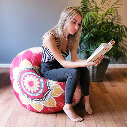 Mandala Floor Cushion used as Beanbag Chair