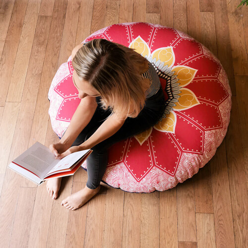 Red and Gold Mandala Floor Cushion indoors