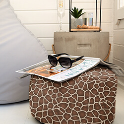 Faux Suede Animal Print Footstool