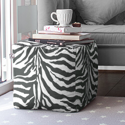 Zebra Faux Suede Bean Bag Cube