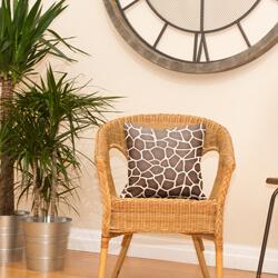 Faux Suede Giraffe Print Cushion on Chair